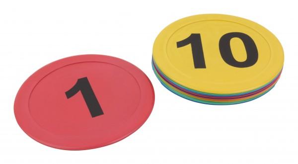 Runde Bodenmarkierungen mit Zahlen