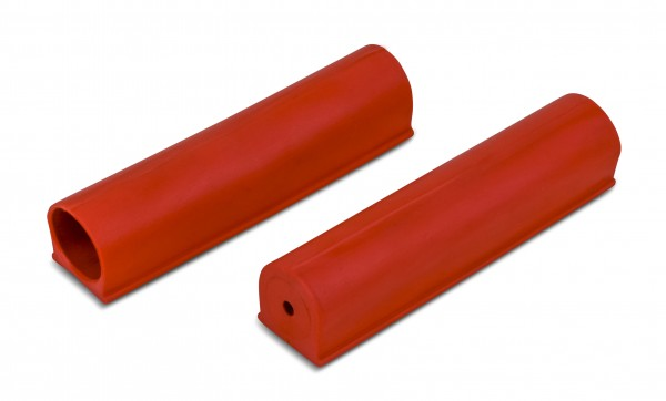 Pair of red End Caps for Competition Crossbars